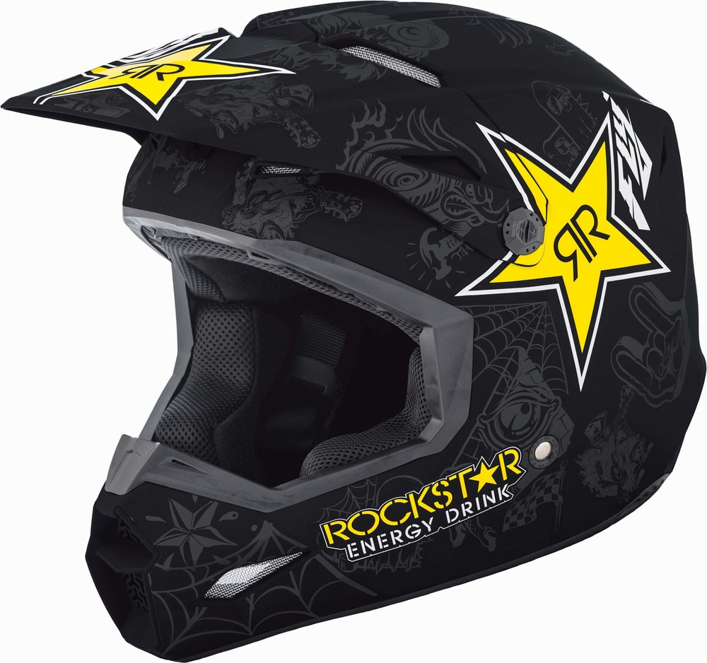 dd67d33f743 Elite Rockstar Matte Black/Charcoal/Yellow Helmet   FLY Racing ...